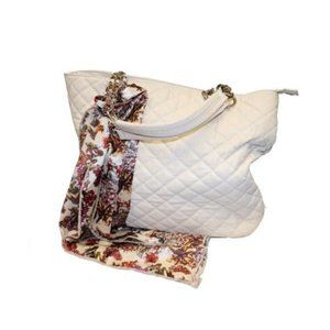 Aldo Quilted Tote Bag Purse with Scarf Tie
